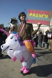 Rusland viert Absurd en Onlogisch in Jaarlijkse Monstration royalty-vrije stock afbeelding