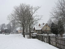 Rusne town in winter , Lithuania Stock Image