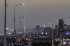 Rusningstidskurkrolltrafikstockning Vishakhapatnam stad Vizag Indien arkivbild