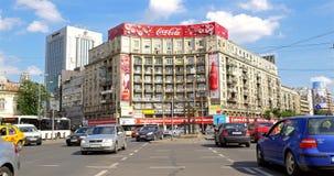 Rusningstidtrafik i i stadens centrum Roman Square stock video