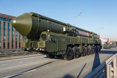 Ruso MIRV-equipado, misil balístico intercontinental Yars del arma termonuclear foto de archivo