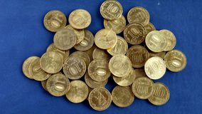 Ruso monedas de 10 rublos Fotos de archivo