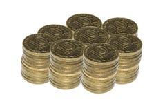 Ruso 10 rublos en el fondo blanco Foto de archivo libre de regalías