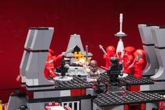 RUSO, SAMARA - 8 de febrero de 2019 Lego Star Wars Minifigures Star Wars - guardia de Preatorian de la ?lite foto de archivo