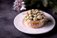 ` Ruso tradicional del claro de la seta del ` de la ensalada del ` s del Año Nuevo de las patatas hervidas, zanahorias, huevos, c Foto de archivo libre de regalías