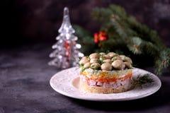 ` Ruso tradicional del claro de la seta del ` de la ensalada del ` s del Año Nuevo de las patatas hervidas, zanahorias, huevos, c Imágenes de archivo libres de regalías