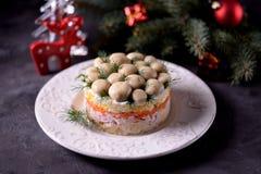 ` Ruso tradicional del claro de la seta del ` de la ensalada del ` s del Año Nuevo de las patatas hervidas, zanahorias, huevos, c Imagen de archivo