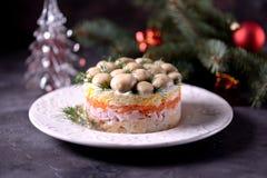 ` Ruso tradicional del claro de la seta del ` de la ensalada del ` s del Año Nuevo de las patatas hervidas, zanahorias, huevos, c Fotografía de archivo libre de regalías
