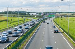 Traffic jam on the road to toll station on highway A1 called Amber One. Royalty Free Stock Photos