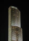 Ruspa spianatrice del cielo a Miami del centro alla notte Fotografie Stock Libere da Diritti
