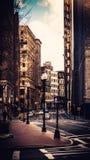 Ruspe spianatrici del cielo della città di Boston nell'inverno fotografie stock libere da diritti