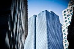 Ruspe spianatrici del cielo della città di Boston nell'inverno fotografia stock libera da diritti
