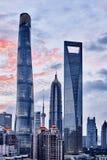 Ruspe spianatrici del cielo di Shanghai Immagine Stock