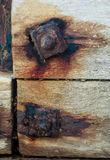 Rusred bolts on sea defences. Weathered, rusted bolts on groynes on sea defences Stock Photo