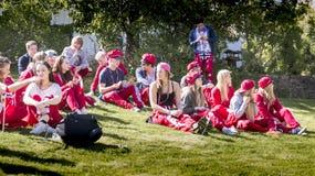 russ服装休息的挪威少年 库存照片