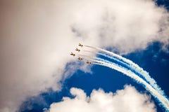 RUSS aerobatic drużyna na MAKS 2015 Fotografia Stock