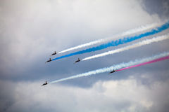 RUSS aerobatic team on the International Aviation and Space salo Royalty Free Stock Image