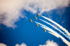 RUSS aerobatic team on the International Aviation and Space salo Stock Image