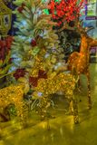 Russ New Year deer at the sale of Christmas decorations on the m. Russia, Moscow 15,12,2017  New Year deer at the sale of Christmas decorations on the market Stock Photography