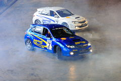 Russ and Paul Swift performing donuts Stock Photo