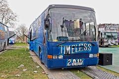 Russ Russebuss w mieście Halden lub autobus, Norwegia Bezczasowy zdjęcie stock