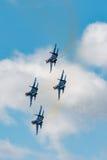 Russe adelt aerobatic Kämpfer Team Sukhoi Su-27 an MAKS Airshow 2015 Lizenzfreie Stockbilder