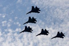 Russe adelt aerobatic Team Stockbilder
