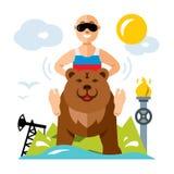Russe et industrie de vecteur Illustration colorée de bande dessinée de style plat Photo libre de droits