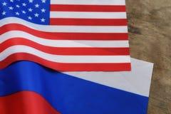 Russe et sanctions de drapeau des Etats-Unis Photo stock