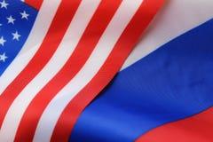 Russe et sanctions de drapeau des Etats-Unis Images libres de droits