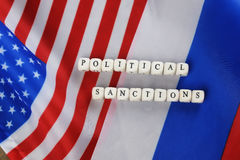Russe et sanctions de drapeau des Etats-Unis Photo stock