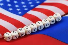 Russe et sanctions de drapeau des Etats-Unis Image libre de droits