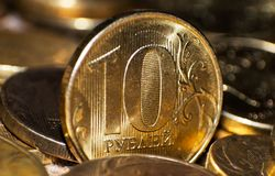 Russe plan rapproché de 10 pièces de monnaie de rouble Photos stock