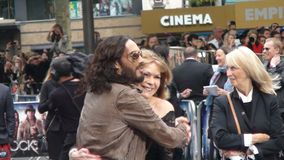 Russell Brand. With his mother   at the uk premiere of the movie rock of all ages 2012 Royalty Free Stock Photo