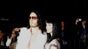 Russell Brand and Katy Perry. At the World premiere of `Get Him To The Greek` held at the Greek Theater in Hollywood, California, United States on May 25, 2010 stock photos