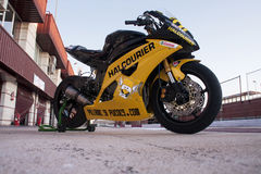 Russell motorbike. Motorbike of Russell Gomez  (spanish), is a yamaha of Halcourier Wild Wolf MS Team, in Supersport European Championship. In  Albacete (Spain Royalty Free Stock Image