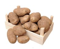 Russet potato. A crate with russet potato isolate on white royalty free stock photos