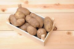 Russet potatoes. A lot of russet potatoes on crate Stock Photos
