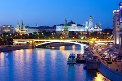 Russia-01 06 2014, взгляд ночи Кремля, Москвы Стоковые Фотографии RF