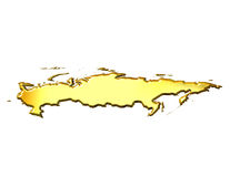 Russia 3d Golden Map. Isolated in white Royalty Free Stock Photos