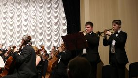 01.18.2017, Russia, Academician of the town, House of Scientists of the SB RAS, musicians with trumpets play a melody stock video footage