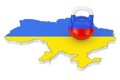 Russia Aggression Concept. Iron Kettlebell with Russia Flag over. Ukraine Map with Flag on a white background. 3d Rendering Stock Image