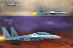 Russia air forces strike concept. Air planes attack on Russia flag background. 3d Illustration. Russia air strike concept. Modern war airplanes attack on Russia Royalty Free Stock Photography