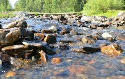 Russia, Alanga. Landscape nature. Coniferous forest. Mountain ri Stock Photo