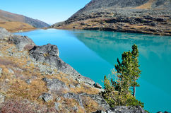 Russia, Altai mountains, lake Acchan Akchan in autumn in sunny weather Royalty Free Stock Image