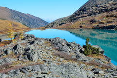 Russia, Altai mountains, lake Acchan Akchan in autumn in sunny weather Royalty Free Stock Images