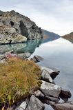 Russia, The Altai mountains, lake Acchan Akchan in september in cloudy weather. Russia, Altai mountains, lake Acchan Akchan in september in cloudy weather Stock Photography