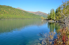 Russia, Altai territory, middle Multinskoye lake in sunny weather Stock Photos