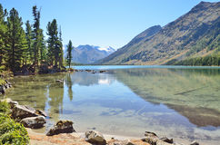 Russia, Altai territory, Ust-Koksinsky district, middle Multinskoye lake in sunny day Royalty Free Stock Photos