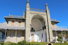 Southern facade of Vorontsov Palace in Crimea stock photo